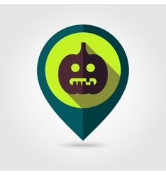 Halloween pumpkins mapping pin icon vector