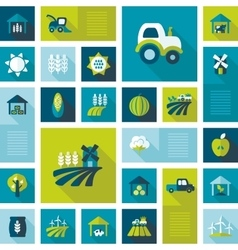 Colorful farm field flat icon with long shadow vector