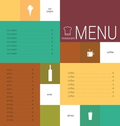 Menu card color vector