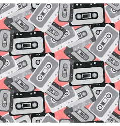 Seamless mix tape pattern 80s style vector