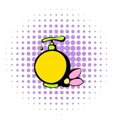 Yellow plastic bottle with liquid soap icon vector