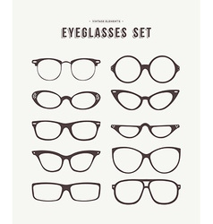 Hipster eye glasses icon set fashion vector