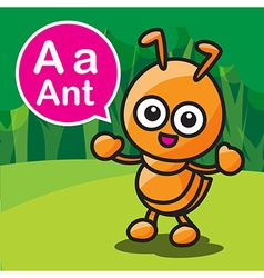 A ant color cartoon and alphabet for children to vector image
