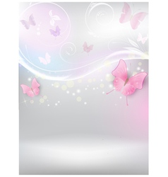 Abstract background with florals and butterflies vector image vector image