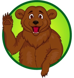 Bear cartoon waving hand vector image
