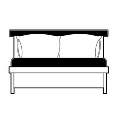 bed wooden with pillows black color section vector image vector image