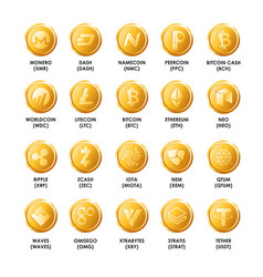 Bitcoin cryptocurrency golden coins icons vector