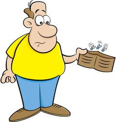 Cartoon man holding an empty wallet vector