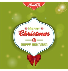 Christmas bauble label on green background vector image vector image
