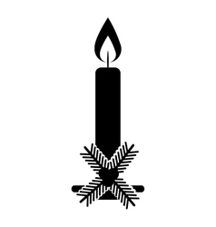 Christmas candle decorative icon vector