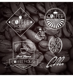 Coffe set label vintage background vector