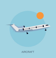 Color airplane in the sky vector