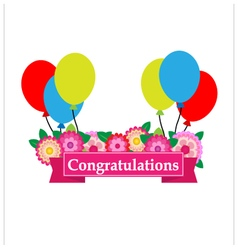 Congratulations sign has flower and balloons vector image