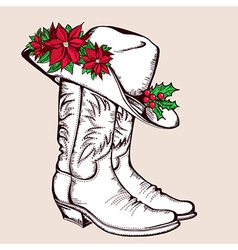 Cowboy Christmas boots and hat graphic vector image vector image