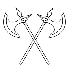 Crossed battle axes icon outline style vector
