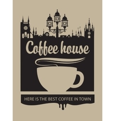 cup of coffee and the old town with a street lamp vector image