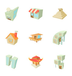 different building icons set cartoon style vector image vector image