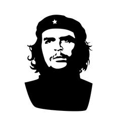 Ernesto Che Guevara black silhouette on white vector image vector image
