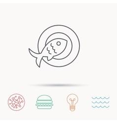 Fish dish icon natural seafood symbol vector