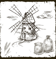 hand drawn mill bags with flour vector image vector image