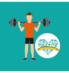 Heart weight loss sport person weight barbell vector