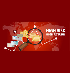 high risk high return investment profile analysis vector image vector image