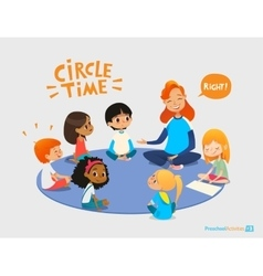 Kids listen and talk to friendly preschool teacher vector image vector image