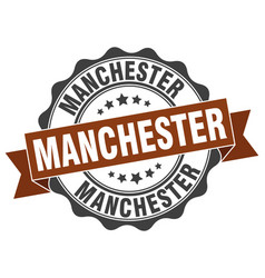 Manchester round ribbon seal vector