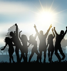 Party people dancing in the countryside vector image vector image