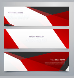 Red and white geometric banners set design vector