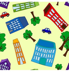 Seamless pattern of buildings and trees vector image