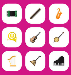 set of 9 editable music flat icons includes vector image