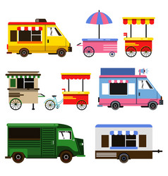 set of food trucks and bicycles for commercial use vector image vector image