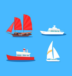 set of sailing and motor vessels icon vector image vector image