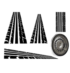 Tyre and tyre tracks vector