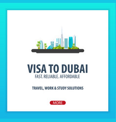 visa to dubai travel to dubai document for vector image