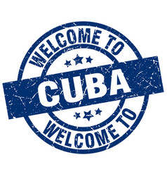 Welcome to cuba blue stamp vector
