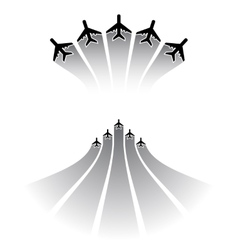 Airplane silhouettes sets vector image
