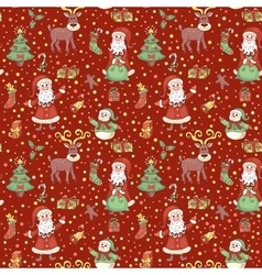 Red christmas pattern with confetti vector