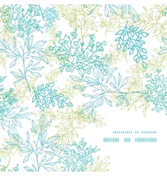 Scattered blue green branches frame corner pattern vector