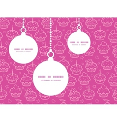 Colorful cupcake party christmas ornaments vector