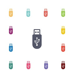 Usb flat icons set vector