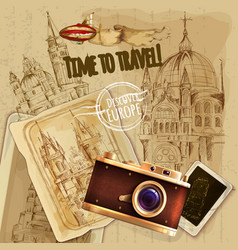 Europe travel with camera vintage poster vector
