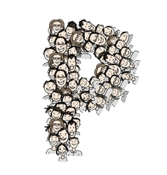 Letter P people crowd alphabet design vector image