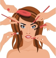 Many hands with cosmetics brush doing makeup of vector