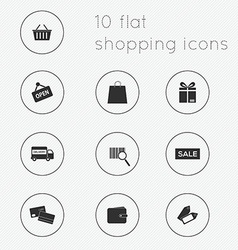 Modern flat icons collection of shopping theme vector