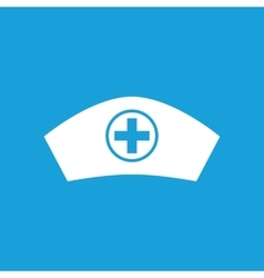 Nurse cap icon white vector
