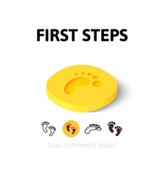 First steps icon in different style vector
