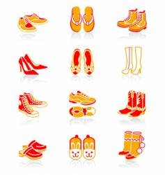 Footwear icons  juicy series vector