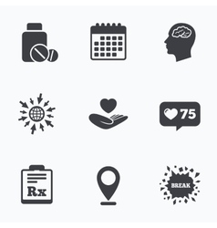Medicine icons Tablets bottle brain Rx vector image